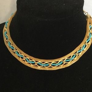 Vintage Gold Tone Necklace Turquoise Beads